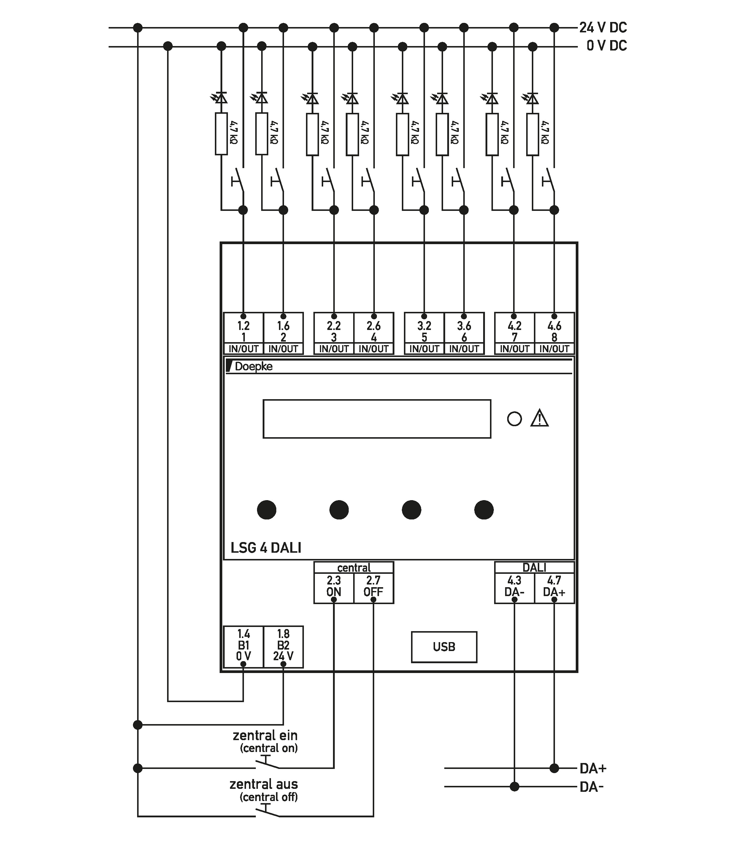 Doepke Lighting Control Devices Lsg 4 Dali Series Parallel Switch Wiring Diagram Switching Of Inputs Outputs