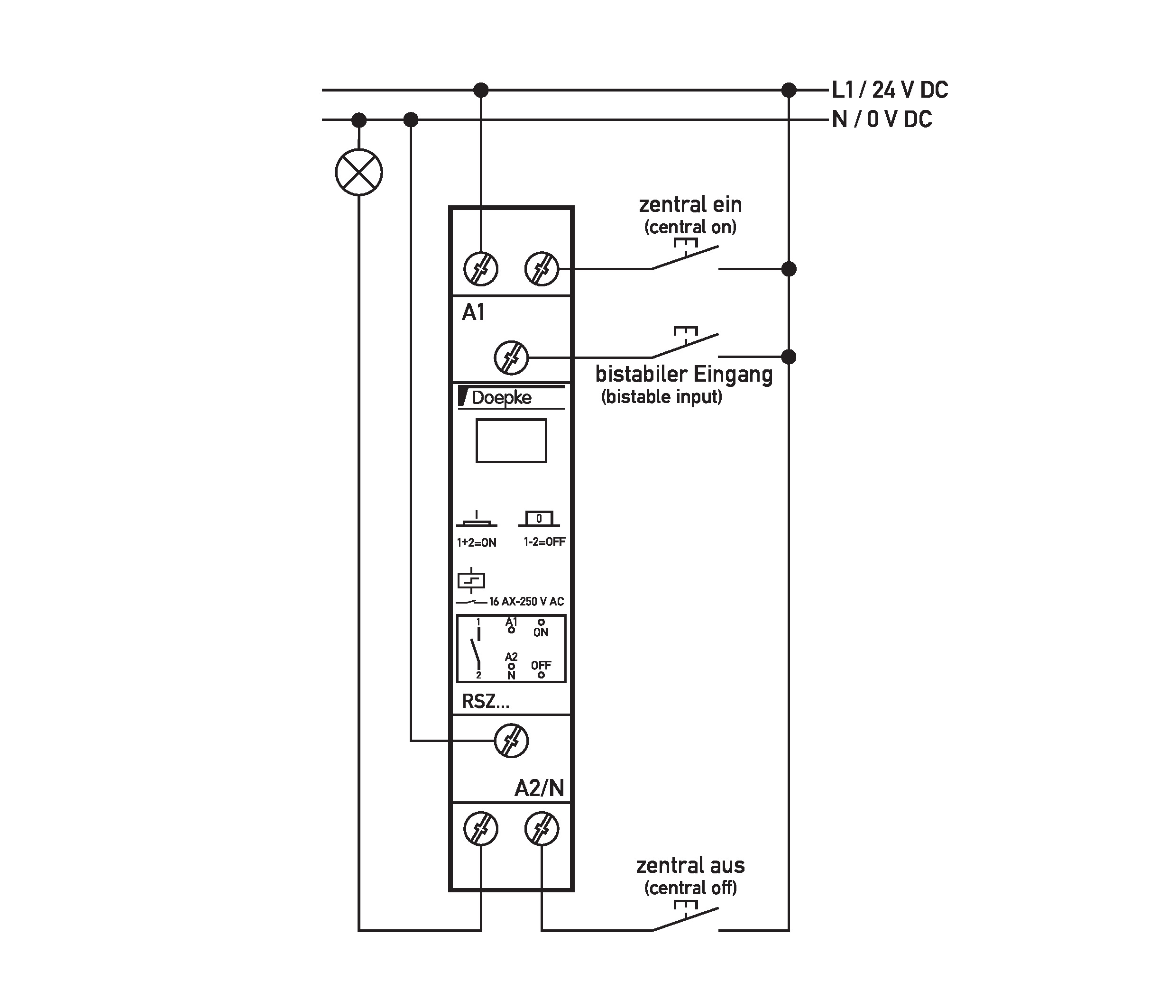 Doepke Pulse Relays With Central Control Rsz 230 100 Circuit Additionally Led Toggle Switch Wiring Diagram On Dc Relay